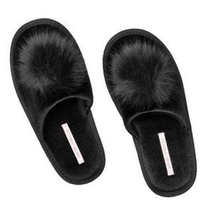 Victoria's Secret  Faux Fur Pom Pom Slippers Black